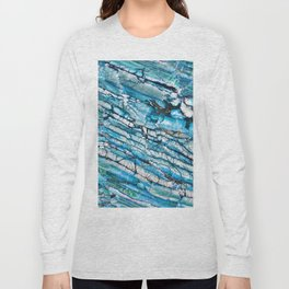 Blue Marble with Black Long Sleeve T-shirt