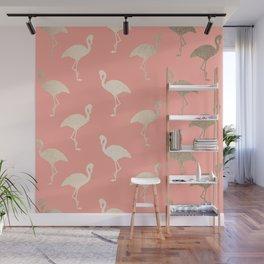 Gold Flamingo Pattern Coral Pink Wall Mural