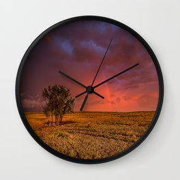 Fire Within - Red Sky and Rainbow Over Lone Tree on Great Plains Wall Clock