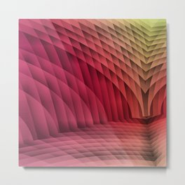Geometric Path Magenta-Gold Metal Print