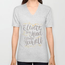 Whimsical Words of Wisdom - Elevate Your Mind, Elevate Yourself Unisex V-Neck