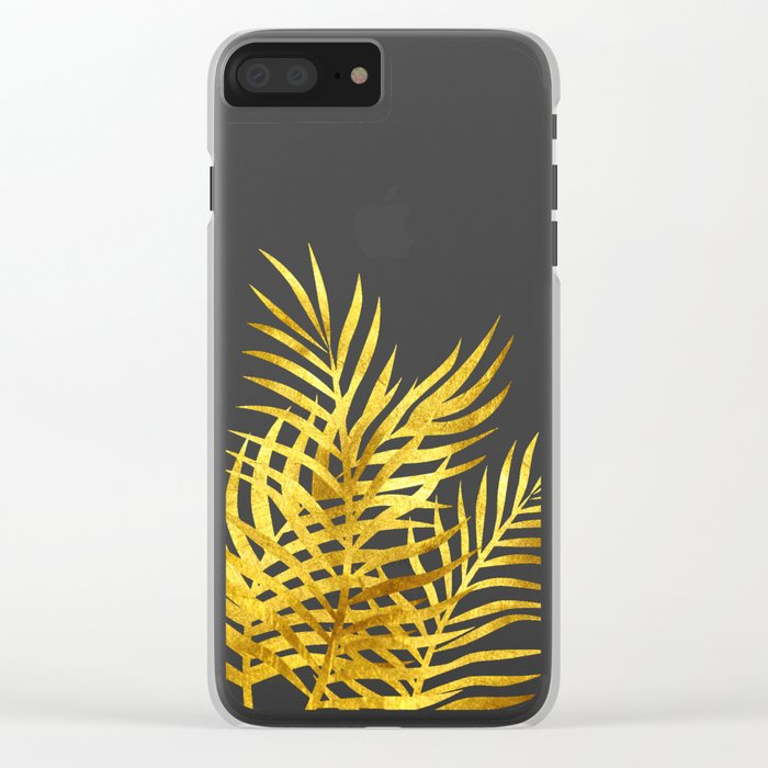 Palm Leaves_Gold and Black Clear iPhone Case