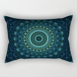 Mandala in dark blue and green tones Rectangular Pillow
