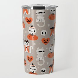 Halloween Kitties (Gray) Travel Mug