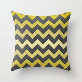 Mustard Gradient Chevron on Gray Throw Pillow