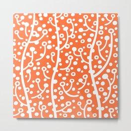 Mid Century Modern Spring Blossoms Orange Metal Print