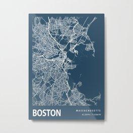 Boston Blueprint Street Map, Boston Colour Map Prints Metal Print