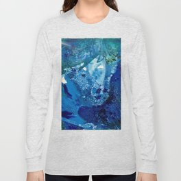 Environmental Blue Leaves, Tiny World Collection Long Sleeve T-shirt