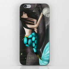 Mermaid Playing with Skull iPhone & iPod Skin