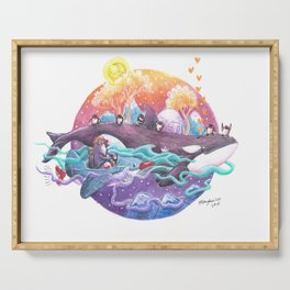 Penguins travel across colorful sky ocean in penguin plane and on a killer whale Serving Tray