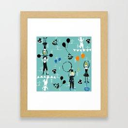 Acrobats blue Framed Art Print