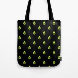Avocado Hearts (black background) Tote Bag