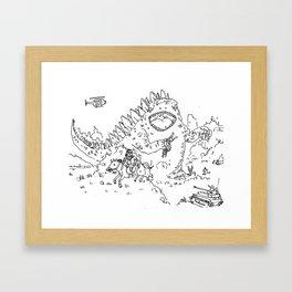 """""""Big Snake Vs. Big Lizard"""" lineart (Farts 'N' Crafts episode 3) Framed Art Print"""
