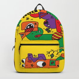 Yellow Doodle Monster World Backpack