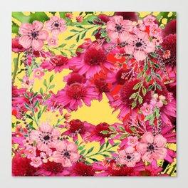 FUCHSIA-PINK FLOWERS YELLOW ART PATTERNS Canvas Print