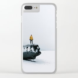 Plane wreck in Iceland with person - Landscape Photography Clear iPhone Case