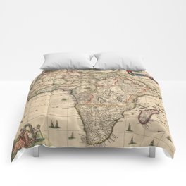 Vintage Map of Africa (1689) Comforters