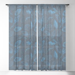 Tropical sea shells Sheer Curtain