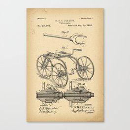 1880 Patent Velocipede Bicycle history innovation Canvas Print