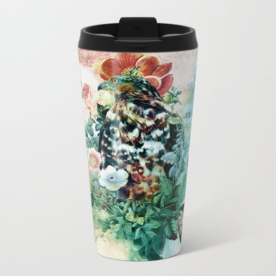 Bird in Flowers Metal Travel Mug