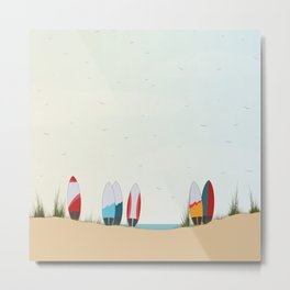 Surfboards at the Beach Metal Print