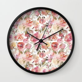 Pastel coral pink watercolor hand painted roses floral Wall Clock