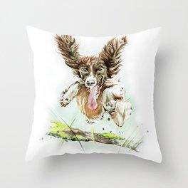 Springing Spaniel Throw Pillow