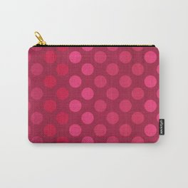 """Rose fuchsia Burlap Texture & Polka Dots"" Carry-All Pouch"