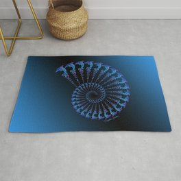 Tribal Dolphin Spiral Shell Rug