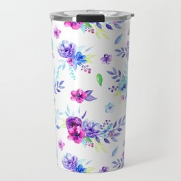 Watercolor Purple Floral Pattern Travel Mug