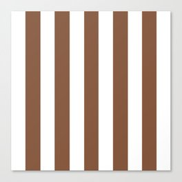 Milk chocolate brown - solid color - white vertical lines pattern Canvas Print