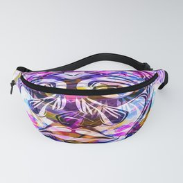 face mask with colorful kisses lipstick background Fanny Pack
