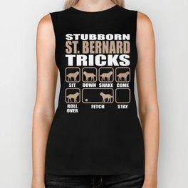 Stubborn St. Bernard Tricks design Biker Tank