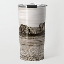 House between rocks in Brittany in black and white Travel Mug