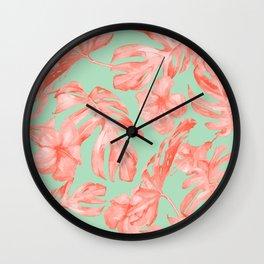 Island Life Coral Pink + Pastel Green Wall Clock