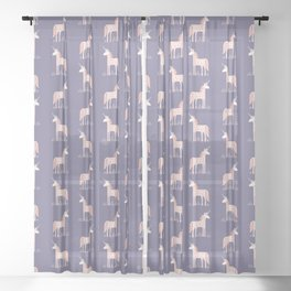 Unicorn with Flowers Sheer Curtain