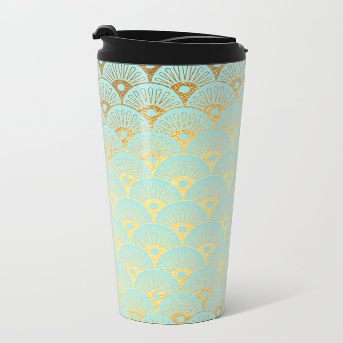 Art Deco Mermaid Scales Pattern on aqua turquoise with Gold foil effect Metal Travel Mug