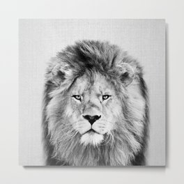 Lion 2 - Black & White Metal Print