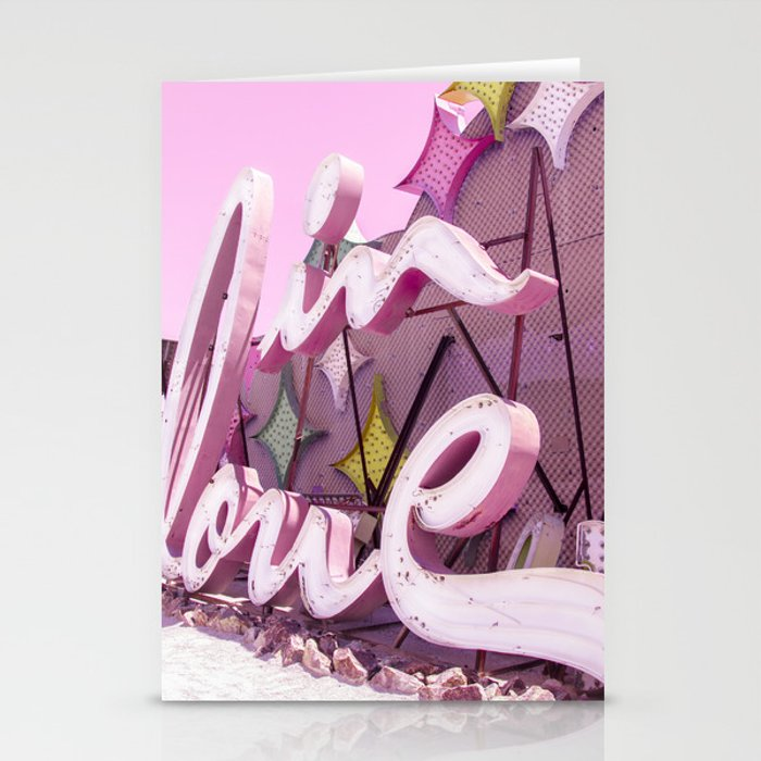 """Pink """"In Love"""" Sign at the Neon Museum in Las Vegas, Nevada Stationery Cards"""