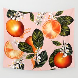 Citrus paradise. Tropical pattern with oranges Wall Tapestry