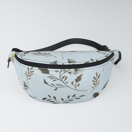 Pale Blue Bluebells and Bluebirds Floral Pattern Flowers in Blue and Bark Brown Fanny Pack