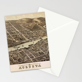 Bird's eye view of Augusta, Maine (1878) Stationery Cards