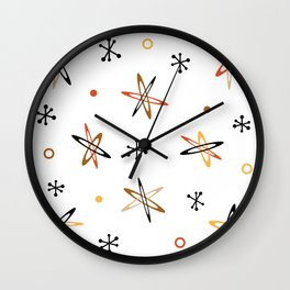 Atomic Era Space Age Orange Brown White Wall Clock