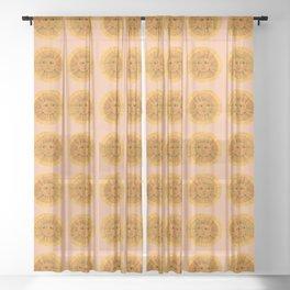 Sun Drawing Gold and Pink Sheer Curtain
