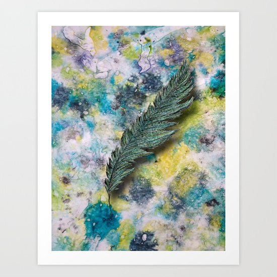 CRAYON LOVE: Aqua Feather Art Print