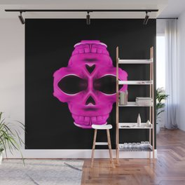 pink psychedelic skull portrait with black background Wall Mural