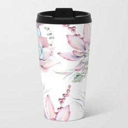 Pretty Pastel Succulents Garden 1 Metal Travel Mug