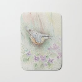 Nuthatch Wildlife watercolour painting Forest bird with flowers Nature painting Vegan Decor Bath Mat