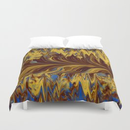Electric-Blue, Brown, and Gold Abstract Duvet Cover