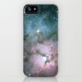 Green and Pink Burst Galaxy iPhone Case
